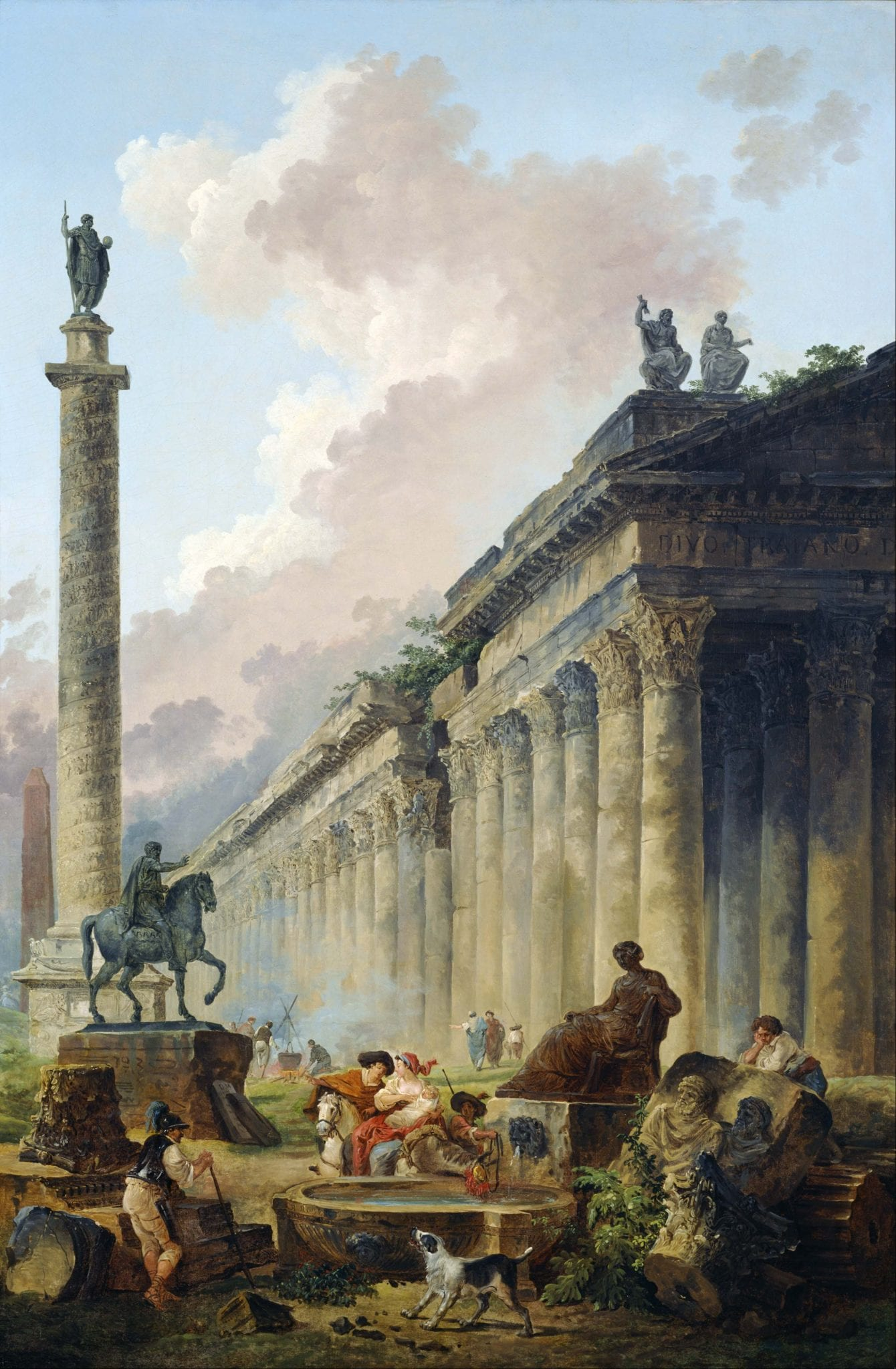 """Hubert Robert, """"Imaginary View of Rome with Equestrian Statue of Marcus Aurelius, the Column of Trajan and a Temple"""" (1786)"""